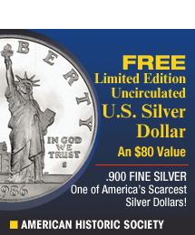 American Historic Society - Free Uncirculated U.S. Silver Dollar