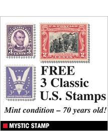 Mystic Stamp - Free 3 Classic U.S. Stamps